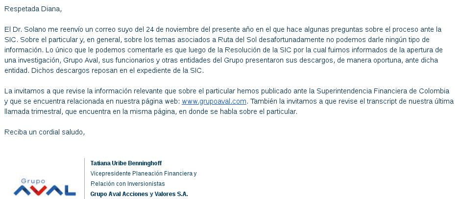 Respuesta de David Fernando Solano Saravia, vicepresidente financiero del grupo AVAL a las preguntas de Cuestión Pública. Remitida a través de Tatiana Uribe, vicepresidente de Planeación Financiera del grupo AVAL.