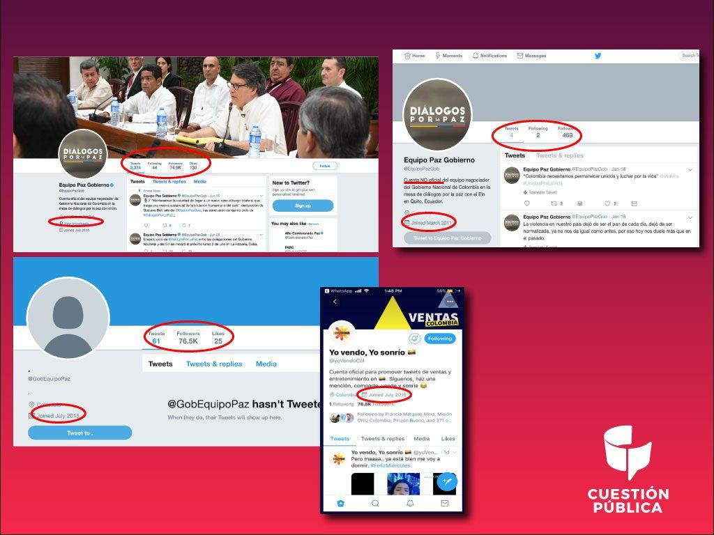 Paralelo de la cuenta original @EquipoPazGob, hoy con usuario @GobEquipoPaz con ID en Twitter 3374091909 y la que hoy ostenta el usuario @EquipoPazGob.